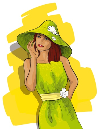 hat nude: beautiful woman in a hat Illustration
