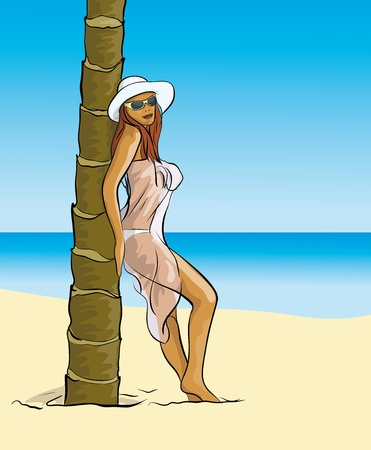 sexual pleasure: a woman in a pair of palm trees near the