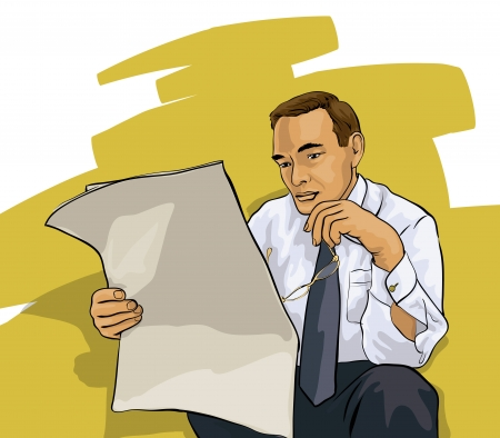 a man reading a newspaper Vector