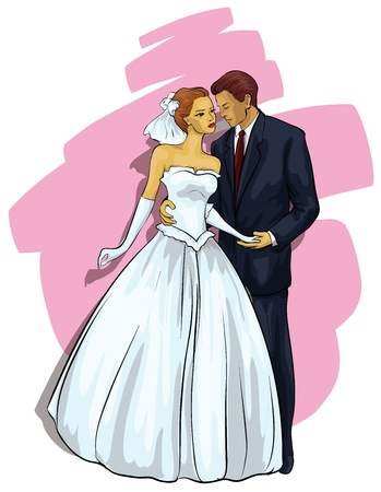 sexy young couple: Wedding. A beautiful young couple Illustration