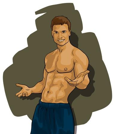 arm muskeln: gebr�unte Mann mit einer sch�nen Figur Illustration