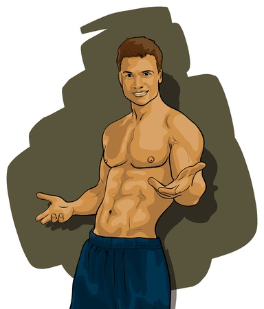 arm muscles: tanned guy with a beautiful figure Illustration