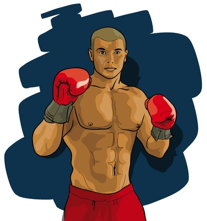 Male. A strong athlete boxer. Stock Vector - 12821209