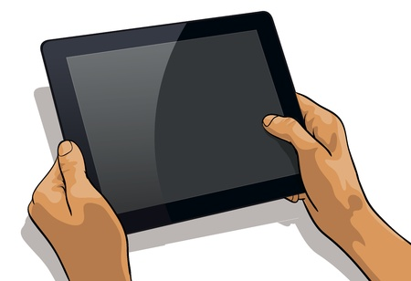 communications tools: Tablet PC in the hands of