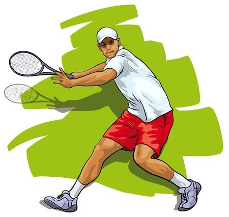 tennis racquet: Un gran tenis. Atleta que refleja una descarga Vectores