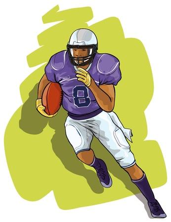 uniforme de futbol: El jugador de f�tbol americano universitario con el bal�n Vectores