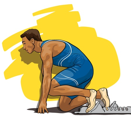 track and field athlete at the start Vector