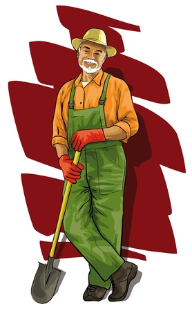 wrinkles: Good happy gardener with a spade in his hand