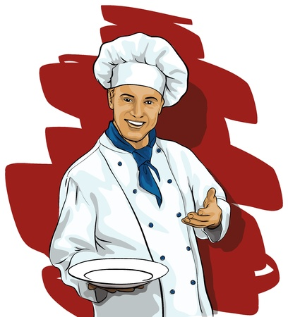 Chef with a blank plate Illustration