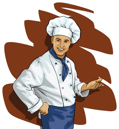 Chef invites or points Stock Vector - 12821233