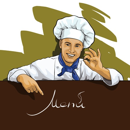 commercial kitchen: Chef shows on the menu Illustration