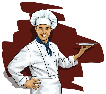 specialty: Chef with a blank plate Illustration