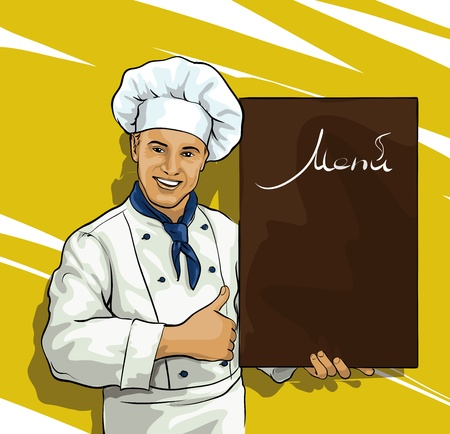 speciality: chef with menu board for Illustration