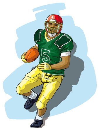 The player in college football with the ball Vector