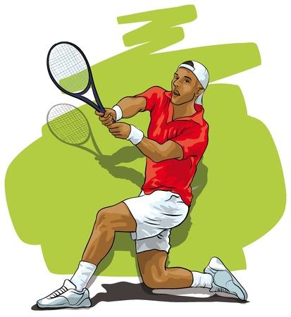 jugando tenis: Un gran tenis. Atleta que refleja una descarga Vectores
