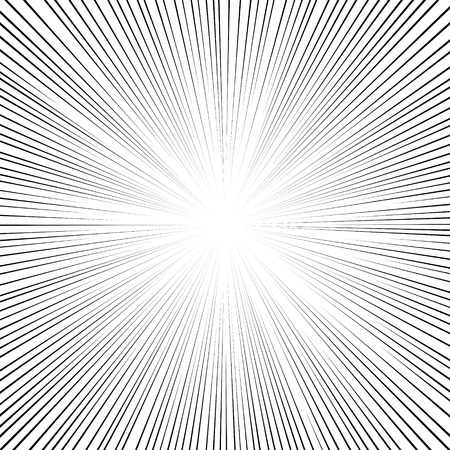 Comic book black and white radial lines background Square fight stamp for card Manga or anime speed graphic ink texture Superhero action frame Explosion vector illustration Sun ray or star burst element Reklamní fotografie - 50124647