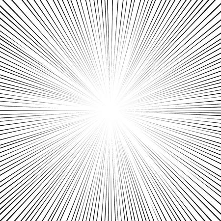 Comic book zwart en wit radiale lijnen achtergrond Vierkante strijd stempel voor kaart Manga of anime speed grafische inkttextuur Superhero actiekader Explosie vector illustratie straal van de zon of ster uitbarsting element Stock Illustratie