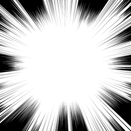 Comic book black and white radial lines background Square fight stamp for card Manga or anime speed graphic ink texture Superhero action frame Explosion vector illustration Sun ray or star burst element Illustration