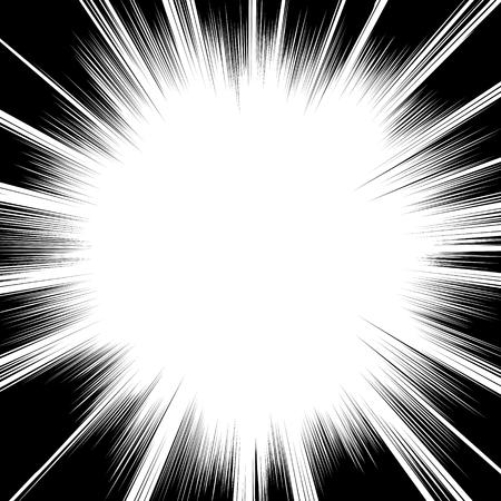 Cómic líneas radiales en blanco y negro Fondo cuadrado sello lucha por la tarjeta de Manga o la velocidad de anime gráfico textura tinta ilustración marco de acción Superhéroe Explosión vector elemento Rayo de Sun o estrella de estallido