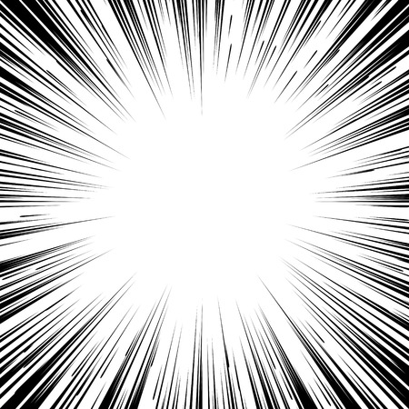Comic book black and white radial lines background Square fight stamp for card Manga or anime speed graphic ink texture Superhero action frame Explosion vector illustration Sun ray or star burst element Vectores