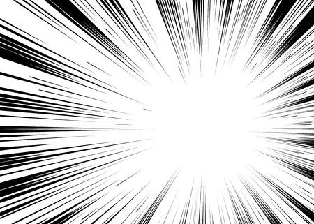 historietas: cómic en blanco y negro sello de lucha líneas radiales Fondo del rectángulo para la tarjeta o la velocidad de Manga del animado gráfico textura de tinta ilustración marco de acción del super héroe explosión de vectores elemento de Sun Ray o explosión de la estrella Vectores