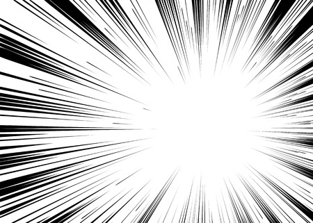 Comic book black and white radial lines background Rectangle fight stamp for card Manga or anime speed graphic ink texture Superhero action frame Explosion vector illustration Sun ray or star burst element