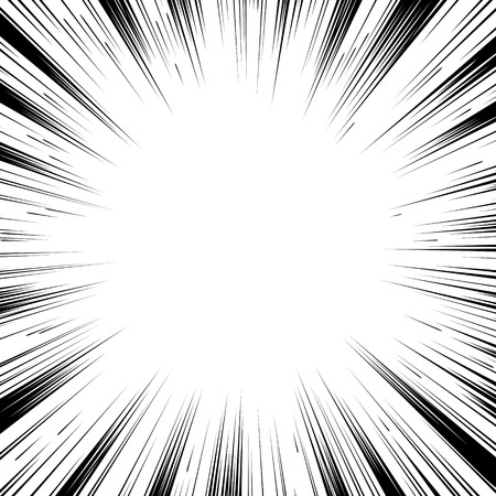 Comic book black and white radial lines background Square fight stamp for card Manga or anime speed graphic ink texture Superhero action frame Explosion vector illustration Sun ray or star burst element  イラスト・ベクター素材