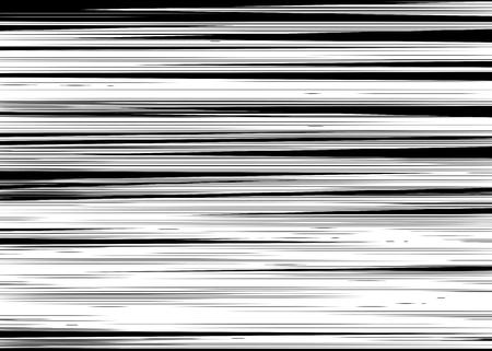 speed: Cómic negro y blanco líneas horizontales Fondo del rectángulo sello lucha por la tarjeta de Manga o en un marco de acción del super héroe gráfico textura de la velocidad de anime Ilustración de Sun elementos de rayos o de tono espacio vectorial