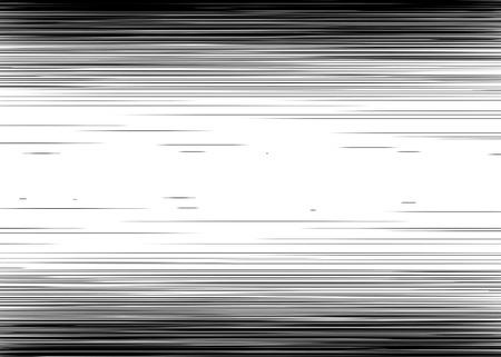 Cómic negro y blanco líneas horizontales Fondo del rectángulo sello lucha por la tarjeta de Manga o en un marco de acción del super héroe gráfico textura de la velocidad de anime Ilustración de Sun elementos de rayos o de tono espacio vectorial Ilustración de vector