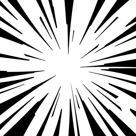 Comic book zwart en wit radiale lijnen achtergrond Vierkante strijd stempel voor kaart Manga of anime speed grafische textuur Superhero actiekader Explosie vector illustratie straal van de zon of ster uitbarsting element