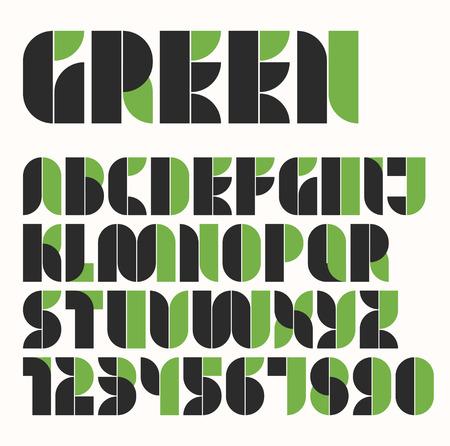 Modular eco green and black alphabet and number Minimal grid modern font design Retro geometric style abc
