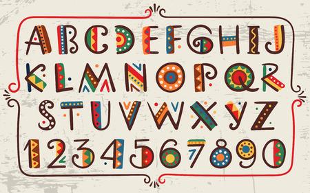 Tribal étnica brillante alfabeto y el número dibujado a mano fuente gráfico en el estilo africano o indio diseño estilizado sencilla Primitivo