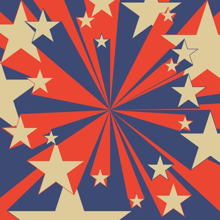 Vintage grafici rosso e blu volanti stelle del libro di fumetti velocità di colore linee radiali di sfondo eroe d'azione trama Piazza timbro lotta per la carta Vettoriali