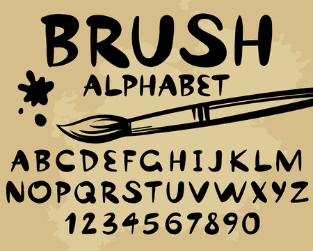 Brush black alphabet and number paint elements Simple stylized isolated design Graphic font Abc