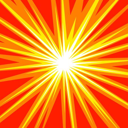 Stralen van de zon of ster uitbarsting element Plein strijd stempel voor kaart Comic rode en gele radiale lijnen achtergrond Manga of anime speed grafische textuur held actiekader Explosion illustratie Stock Illustratie