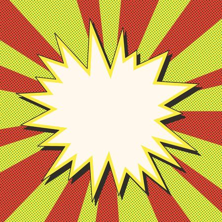 Cómic explosión ilustración del arte burbuja de diálogo pop retro con puntos sello lucha la plaza para el fondo acción de fotograma héroe tarjeta de sol ray o explosión de la estrella elemento