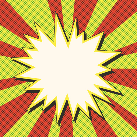 Comic book explosion illustration Retro pop art speech bubble with dots Square fight stamp for card hero action frame background Sun ray or star burst element Stock Illustratie