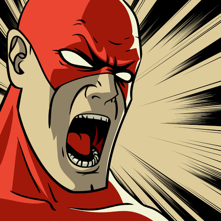 Creative design of a colorful red stylized superhero Pop art background Vector illustration