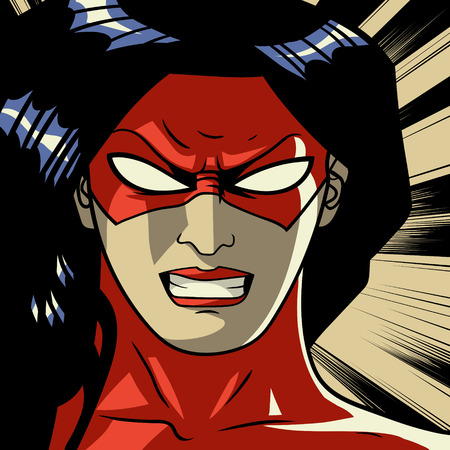 Comic red stylized woman superhero Pop art background Vector illustration