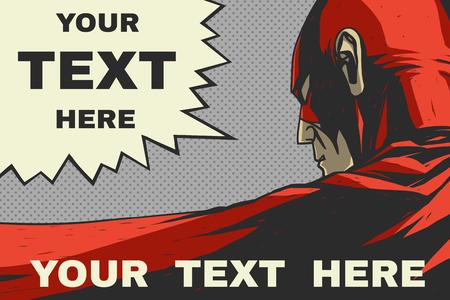Red superhero Speech bubble Pop art comic background Vector art