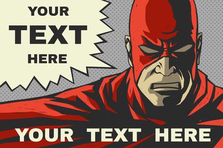 Creatief ontwerp van een kleurrijke superheld Speech bubble Popart komische achtergrond Vector kunst Stock Illustratie