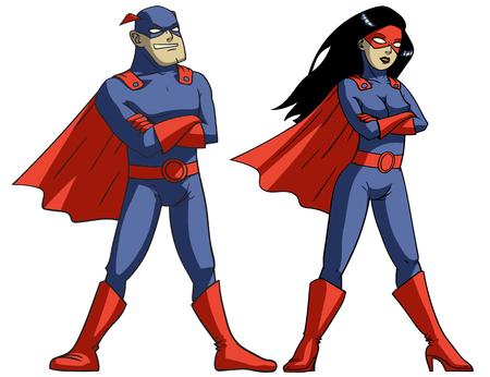 Stripboek superhelden op witte achtergrond Vectorillustratie Stock Illustratie