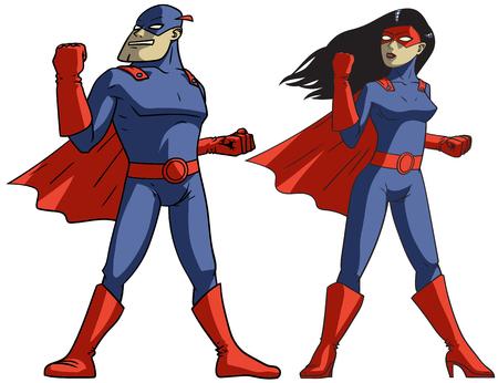 Creatief ontwerp van een kleurrijke stripboek superhelden op witte achtergrond Vector illustratie