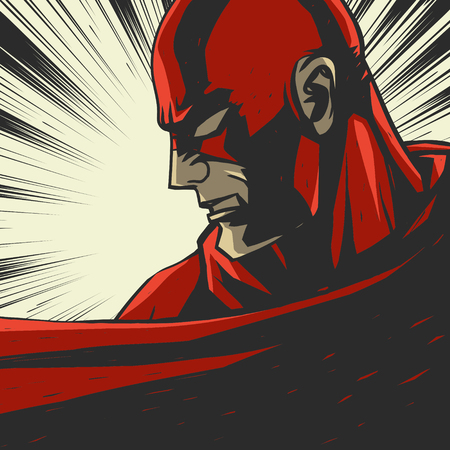 Strip rood gestileerde superheld Pop art achtergrond Vector illustratie Stock Illustratie