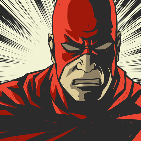 Comic red stylized superhero Pop art background Vector illustration