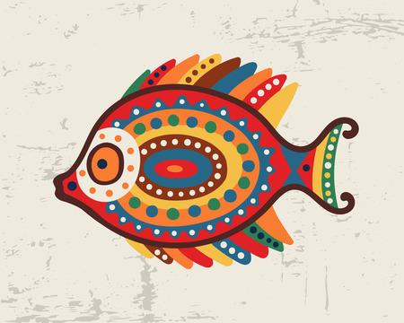 Decorative ornamental fish Tribal ethnic bright vector illustration Hand drawn object. Ilustrace