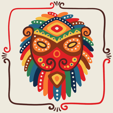 Hand drawn head of the lion Tribal ethnic bright vector illustration Decorative.