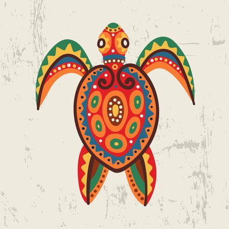 Decorative ornamental sea turtle Tribal ethnic bright vector illustration Hand drawn.