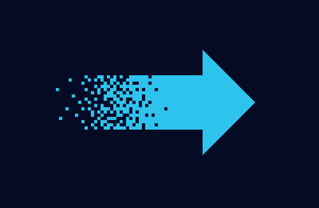 Pixel blue arrow Isolated element on black background Gradient design Vector illustration