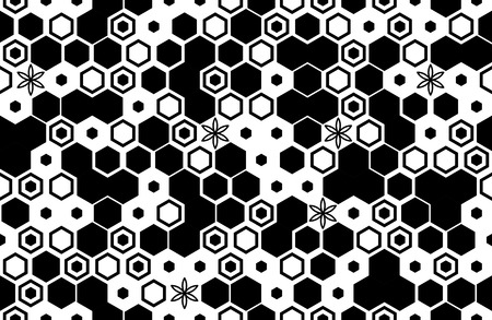 Seamless pattern with hexagons Halftone design Vector illustration